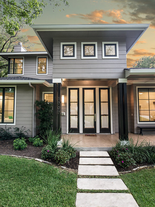 Transitional Grey Exterior Design Ideas Renovations Photos