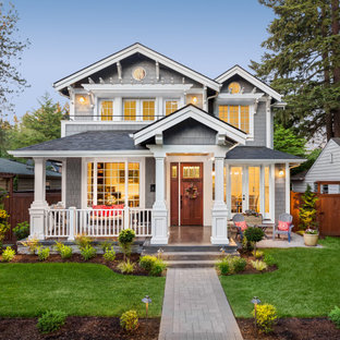 Design ideas for a large and gey classic two floor detached house in Philadelphia with a pitched roof and a shingle roof.