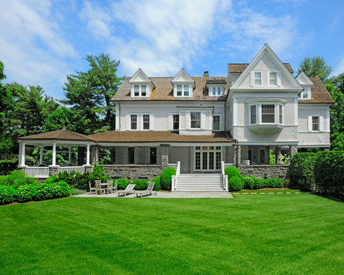 Example Of A Classic Two Story Exterior Home Design In New York With A  Shingle Part 97