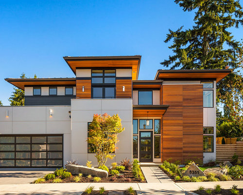 Example Of A Trendy Multicolored Two Story Mixed Siding Exterior Home Design  In Seattle With