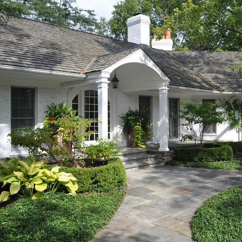 raised ranch front yard landscaping ranch portico houzz
