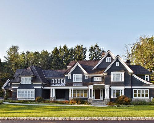 Large Elegant Black Three Story Gable Roof Photo In New York