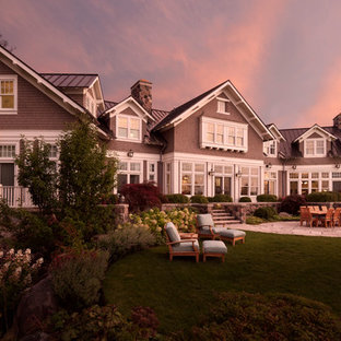 Inspiration for a coastal exterior home remodel in Milwaukee