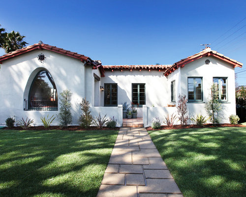 Example Of A Tuscan Exterior Home Design In Los Angeles