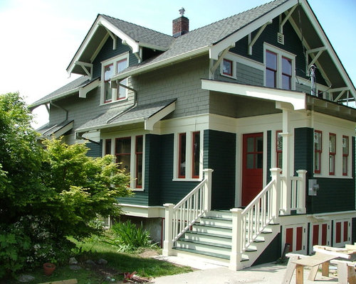 Exterior house color combinations houzz for Craftsman exterior color schemes
