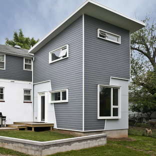 Contemporary gray exterior home idea in Other