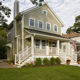 Traditional wood exterior home idea in Chicago