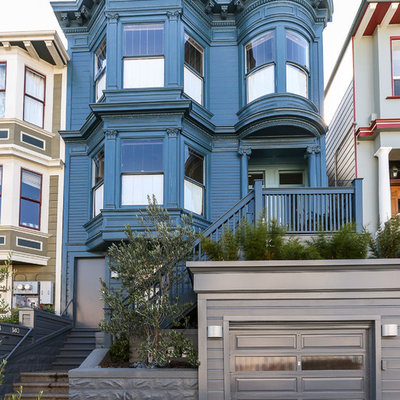 Inspiration for a victorian blue exterior home remodel in San Francisco