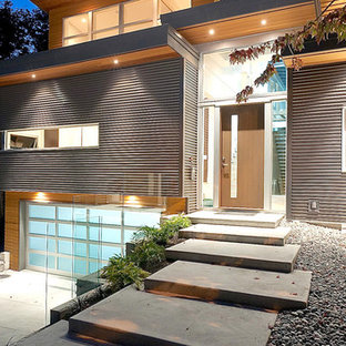 Inspiration for a modern metal exterior home remodel in Vancouver