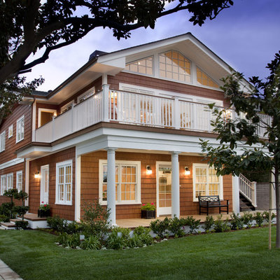 Mid-sized coastal brown two-story wood exterior home idea in San Diego