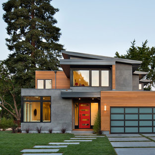 Example of a trendy gray two-story mixed siding exterior home design in San Francisco with a shed roof