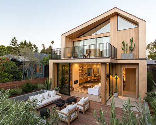 exterior home designs. Example of a trendy beige two story wood exterior home design in Los Angeles 10 Best Contemporary Exterior Home Ideas  Remodeling Pictures Houzz