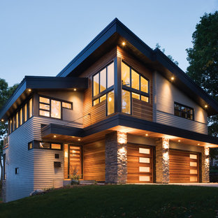 Example of a minimalist exterior home design in Seattle