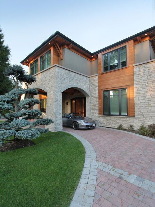 Covered parking ideas pictures remodel and decor for Modern house stone exterior designs