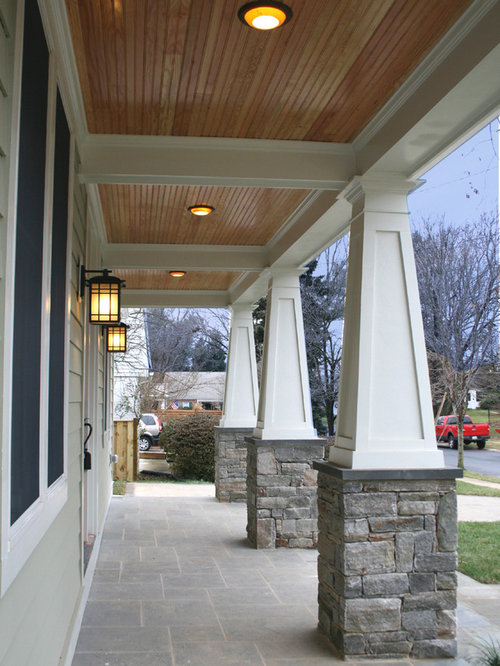 Stained porch ceiling houzz for 10 foot porch columns