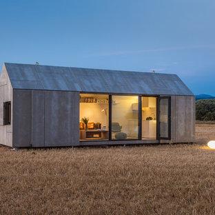 Esempio della facciata di una casa piccola grigia contemporanea a un piano con rivestimento in cemento e tetto a capanna
