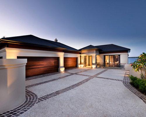 Modernes haus und fassade mit walmdach ideen f r die for Haus mit walmdach modern