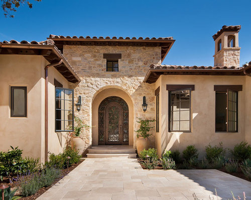 Stone and stucco home design ideas pictures remodel and for Mediterranean stucco