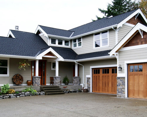 Craftsman two story gable roof home design ideas remodels Craftsman roofing