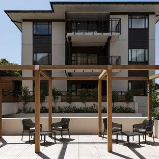 オークランドのコンテンポラリースタイルのおしゃれな家の外観 (コンクリート繊維板サイディング、グレーの外壁、アパート・マンション) の写真