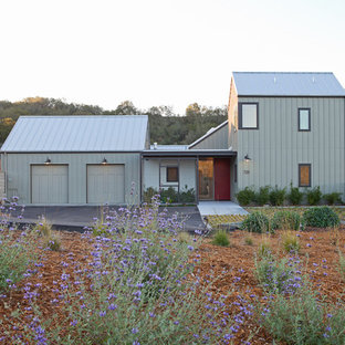 Inspiration for a farmhouse gray two-story exterior home remodel in San Luis Obispo