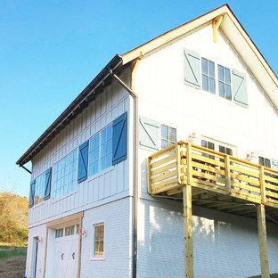 Country white three-story concrete fiberboard house exterior idea