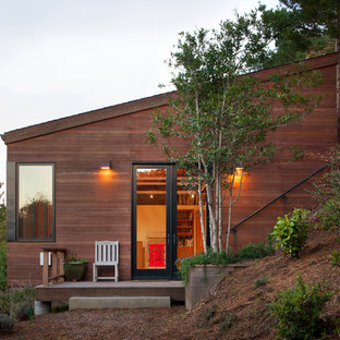 Inspiration for a contemporary wood exterior home remodel in San Francisco with a shed roof