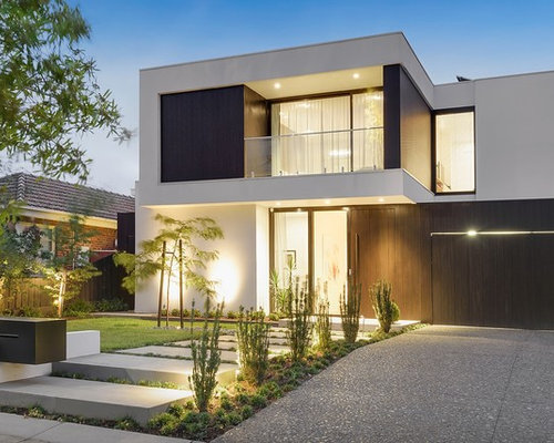 modern exterior house design. Minimalist White Two-story Wood Flat Roof Photo In Melbourne With A Metal Modern Exterior House Design P