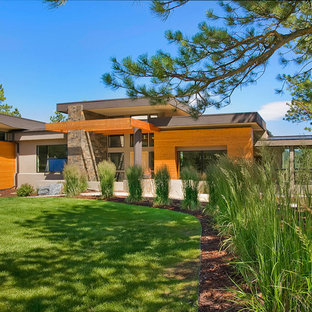 Asian wood exterior home photo in Denver