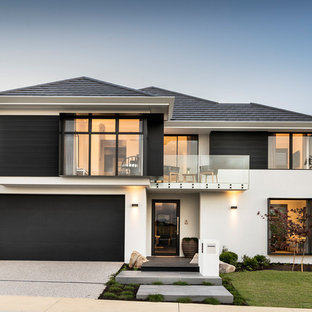 Inspiration for a black world-inspired two floor detached house in Perth with mixed cladding, a hip roof and a shingle roof.