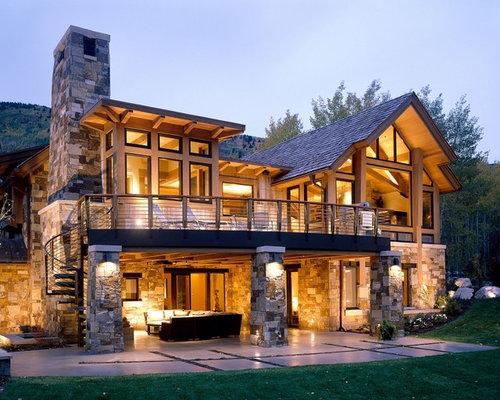 rustikales haus und fassade mit steinfassade ideen f r die fassadengestaltung. Black Bedroom Furniture Sets. Home Design Ideas