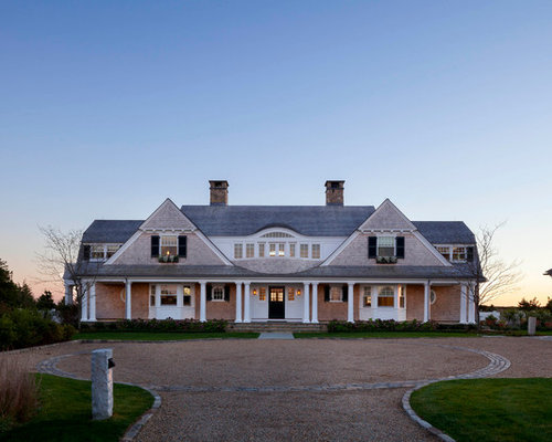Large Beach Style Beige Two Story Wood Gable Roof Idea In Boston With A  Shingle