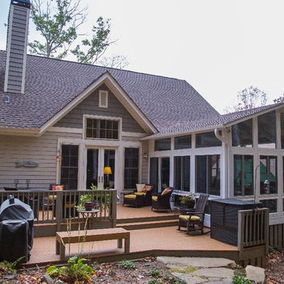 Mid-sized elegant gray one-story mixed siding exterior home photo in Other with a shingle roof