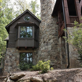 Large rustic gray two-story mixed siding gable roof idea in New York