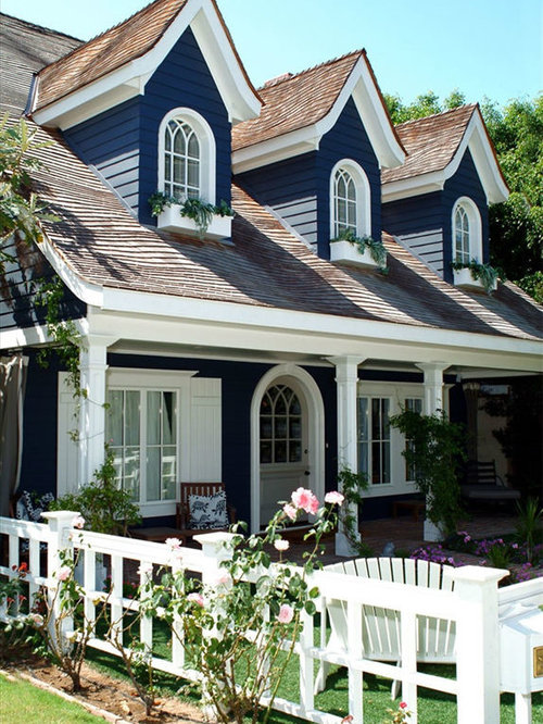 Inspiration For A Mid Sized Shabby Chic Style Blue Two Story Wood Exterior