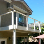 Balcony Cable Railing - Wood framing and stainless steel cable infill; www.sandiegocablerailings.com