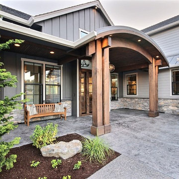 Barrel Vaulted Covered Timber-Framed Entry : The Cadence : 2018 Parade of Homes