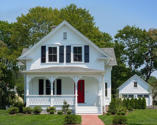 White house black shutters houzz for White house exterior design