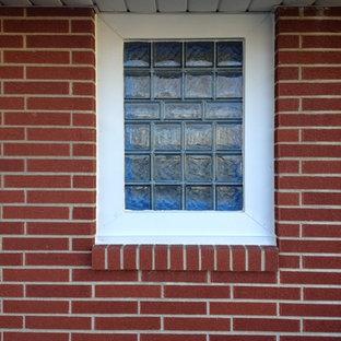 bathroom tile and glass block window