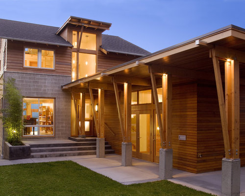 Decorative wood exterior column houzz for Exterior decorative columns