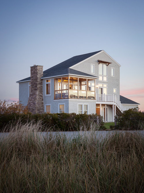 Is An Example Of A Beach Style Three Story Exterior In Portland Maine