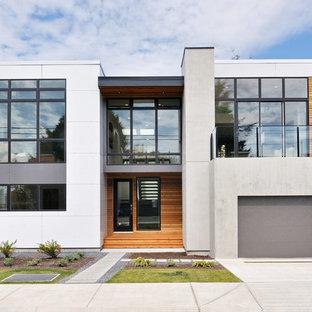 Ejemplo de fachada moderna con revestimiento de hormigón