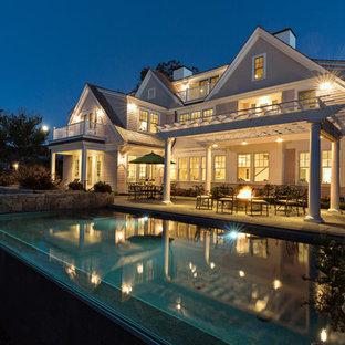 Huge elegant gray three-story wood exterior home photo in Boston