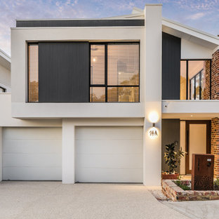 Contemporary two-storey multi-coloured house exterior in Perth with mixed siding.