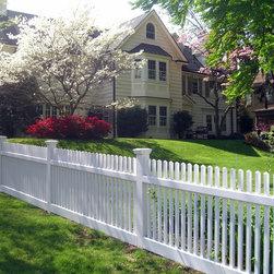 Beautiful White Wood Picket Fence - Sunrise Custom Fence Inc.