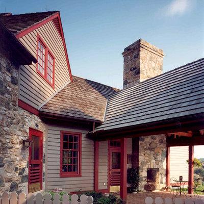 Cottage mixed siding exterior home idea in Philadelphia