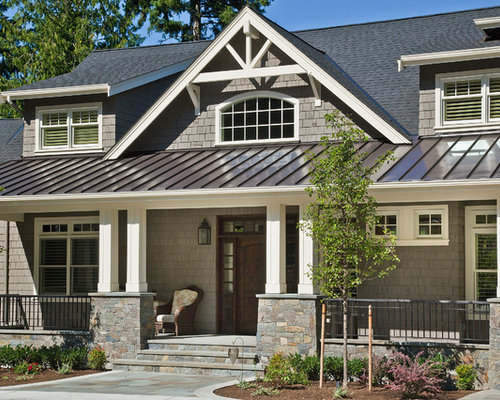 Arts And Crafts Gray Two Story Wood Gable Roof Photo In Seattle With A  Mixed. Save Photo. DESIGN GUILD HOMES