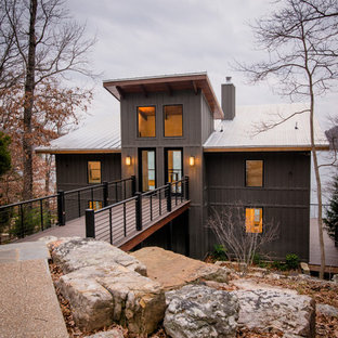 Inspiration For A Large Rustic Gray Two Story Metal Exterior Home Remodel  In Birmingham With