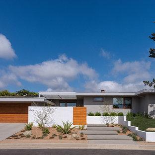 Идея дизайна: одноэтажный частный загородный дом среднего размера в стиле ретро с плоской крышей и облицовкой из бетона