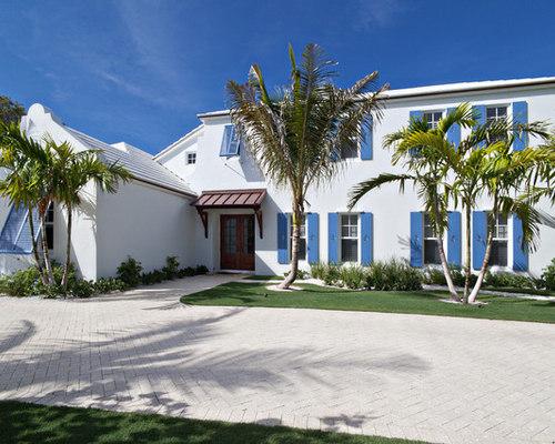 White Stucco House Houzz
